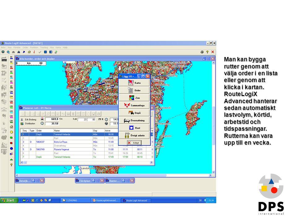 Bygga rutt1 Man kan bygga rutter genom att välja order i en lista eller genom att klicka i kartan. RouteLogiX Advanced hanterar sedan automatiskt last
