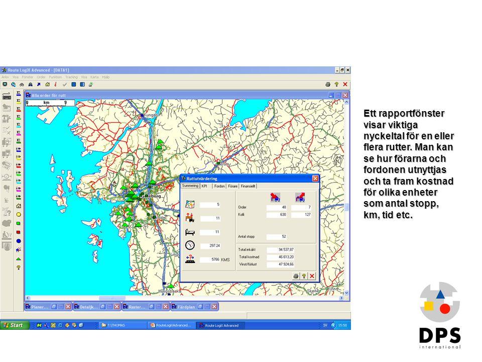 Översikt2 Ett rapportfönster visar viktiga nyckeltal för en eller flera rutter. Man kan se hur förarna och fordonen utnyttjas och ta fram kostnad för