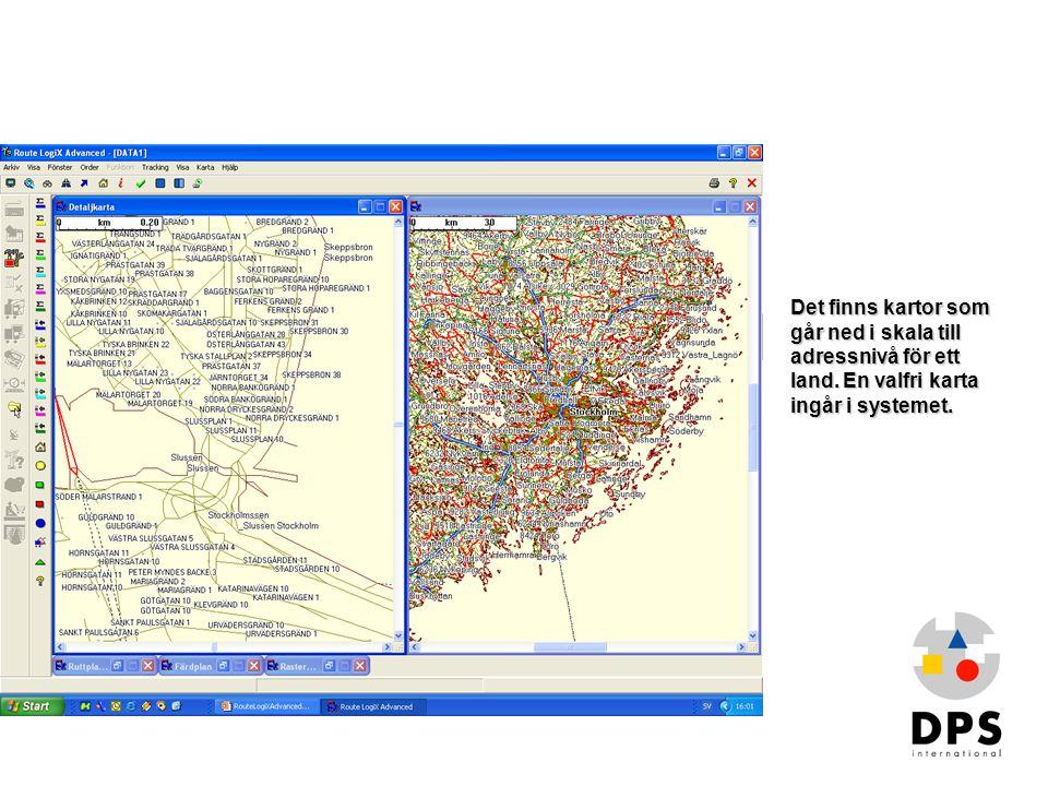 Kartor1 Det finns kartor som går ned i skala till adressnivå för ett land. En valfri karta ingår i systemet.
