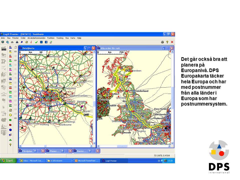 Kartor2 Det går också bra att planera på Europanivå. DPS Europakarta täcker hela Europa och har med postnummer från alla länder i Europa som har postn
