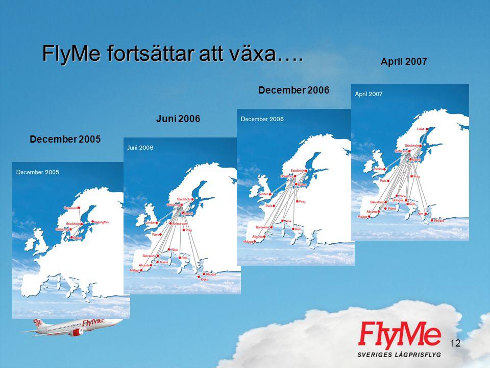 12 FlyMe fortsättar att växa…. December 2005 Juni 2006 December 2006 April 2007