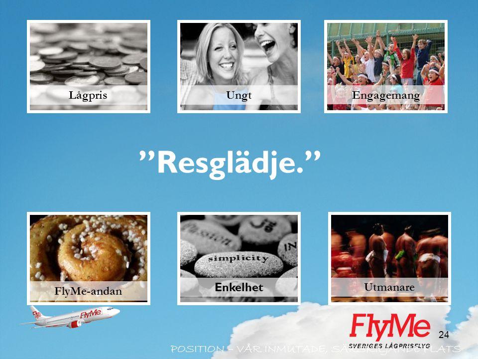 """24 """"Resglädje."""" FlyMe-andan Ungt Engagemang Lågpris Utmanare POSITION – VÅR INMUTADE, SÄRSKILJANDE PLATS Enkelhet"""