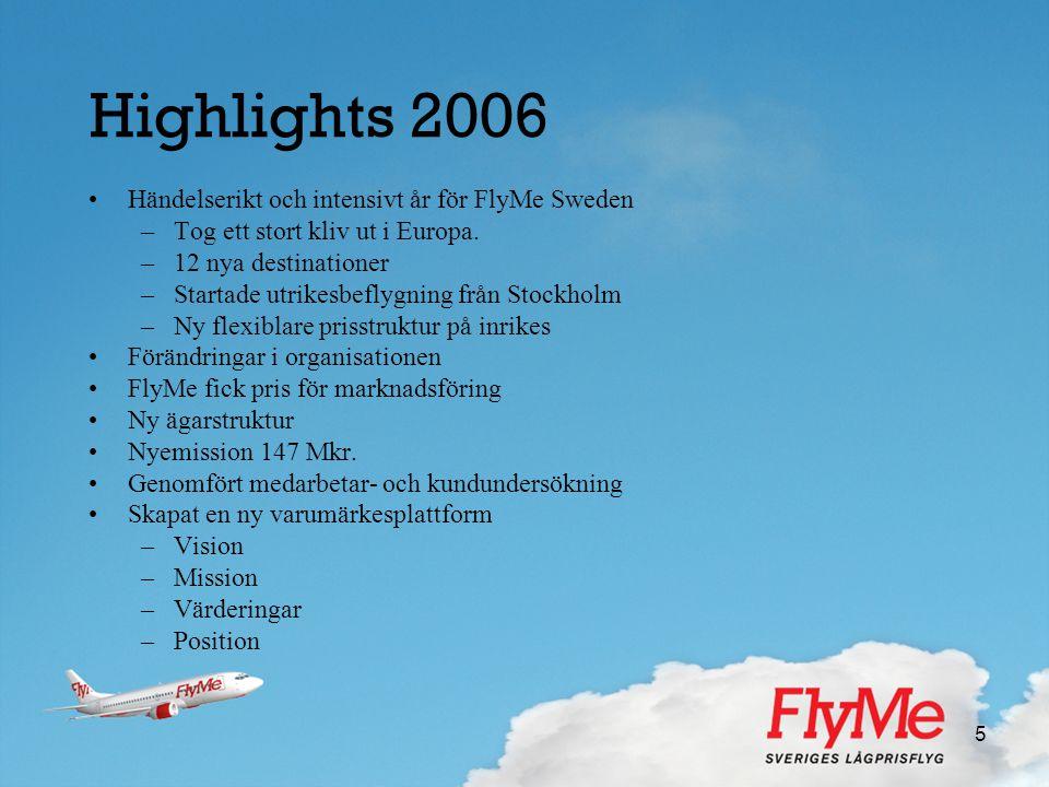 5 Highlights 2006 •Händelserikt och intensivt år för FlyMe Sweden –Tog ett stort kliv ut i Europa. –12 nya destinationer –Startade utrikesbeflygning f