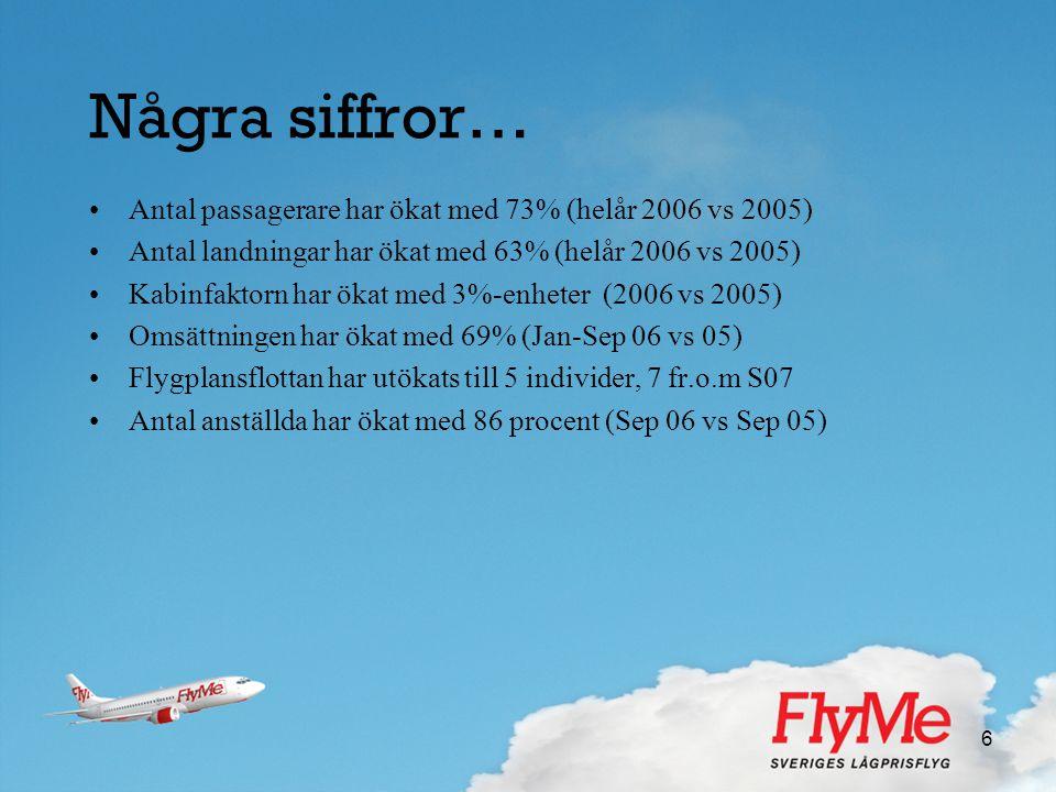 6 Några siffror… •Antal passagerare har ökat med 73% (helår 2006 vs 2005) •Antal landningar har ökat med 63% (helår 2006 vs 2005) •Kabinfaktorn har ök