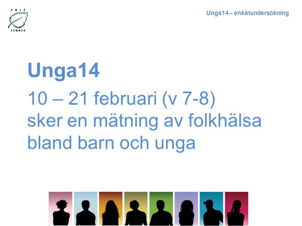 Unga14 – enkätundersökning Unga14 10 – 21 februari (v 7-8) sker en mätning av folkhälsa bland barn och unga