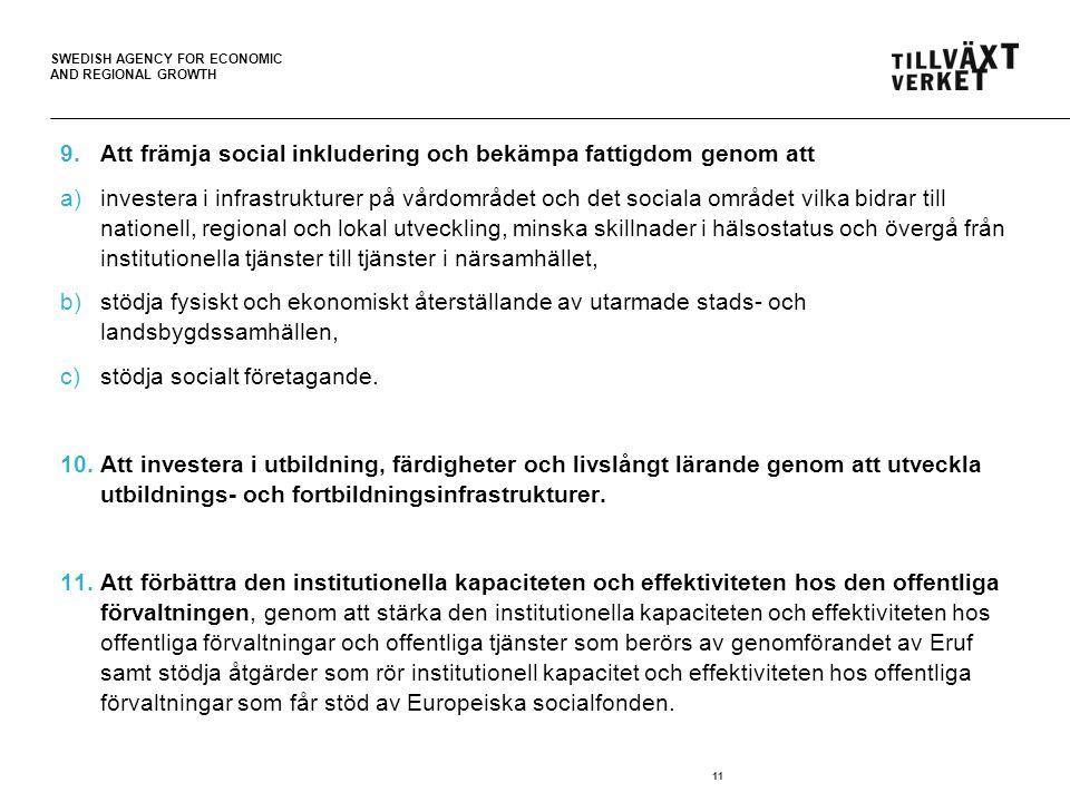 SWEDISH AGENCY FOR ECONOMIC AND REGIONAL GROWTH 9.Att främja social inkludering och bekämpa fattigdom genom att a)investera i infrastrukturer på vårdo