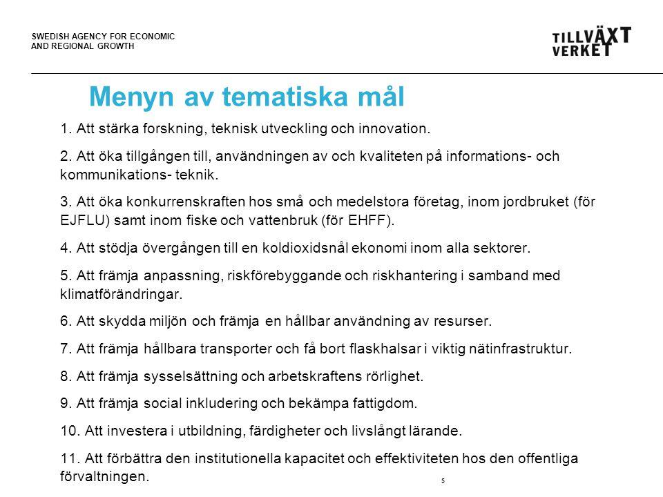SWEDISH AGENCY FOR ECONOMIC AND REGIONAL GROWTH Investeringsprioriteringar 1.Att stärka forskning, teknisk utveckling och innovation genom att a)förbättra forsknings- och innovationsinfrastrukturen och kapaciteten att utveckla spetskompetens inom forskning och innovation samt främja kompetenscentrum, särskilt sådana som är av EU- intresse, b)främja företagsinvesteringar inom forskning och innovation, produkt- och tjänsteutveckling, tekniköverföring, social innovation och offentliga tillämpningar, efterfrågestimulans, nätverk, kluster och öppen innovation genom smart specialisering, c)stödja teknisk och tillämpad forskning, pilotverksamhet, tidiga produktvalideringsåtgärder och kapacitet för avancerad produktion och förstagångsproduktion inom viktig möjliggörande teknik och spridning av teknik för allmänna ändamål.