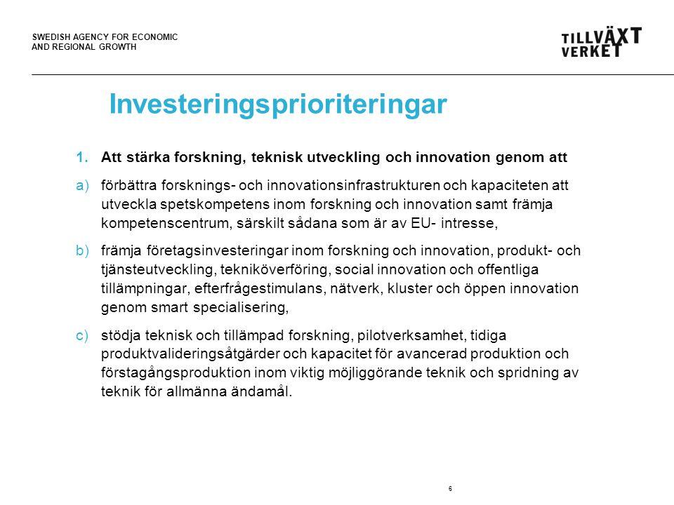 SWEDISH AGENCY FOR ECONOMIC AND REGIONAL GROWTH Investeringsprioriteringar 1.Att stärka forskning, teknisk utveckling och innovation genom att a)förbä
