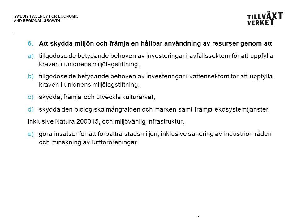 SWEDISH AGENCY FOR ECONOMIC AND REGIONAL GROWTH 6.Att skydda miljön och främja en hållbar användning av resurser genom att a)tillgodose de betydande behoven av investeringar i avfallssektorn för att uppfylla kraven i unionens miljölagstiftning, b)tillgodose de betydande behoven av investeringar i vattensektorn för att uppfylla kraven i unionens miljölagstiftning, c)skydda, främja och utveckla kulturarvet, d)skydda den biologiska mångfalden och marken samt främja ekosystemtjänster, inklusive Natura 200015, och miljövänlig infrastruktur, e)göra insatser för att förbättra stadsmiljön, inklusive sanering av industriområden och minskning av luftföroreningar.