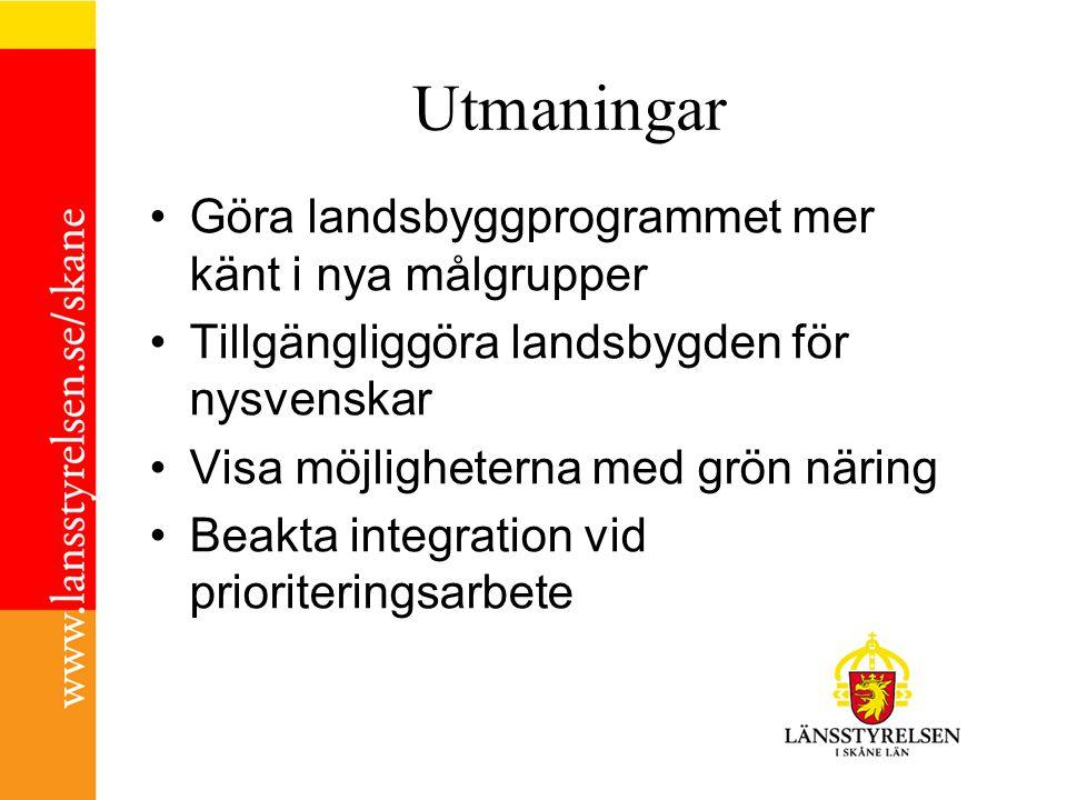 Utmaningar •Göra landsbyggprogrammet mer känt i nya målgrupper •Tillgängliggöra landsbygden för nysvenskar •Visa möjligheterna med grön näring •Beakta integration vid prioriteringsarbete