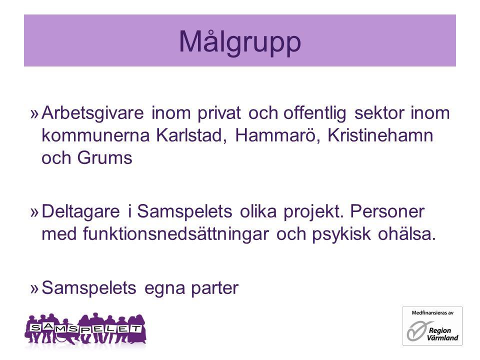 Målgrupp »Arbetsgivare inom privat och offentlig sektor inom kommunerna Karlstad, Hammarö, Kristinehamn och Grums »Deltagare i Samspelets olika projekt.