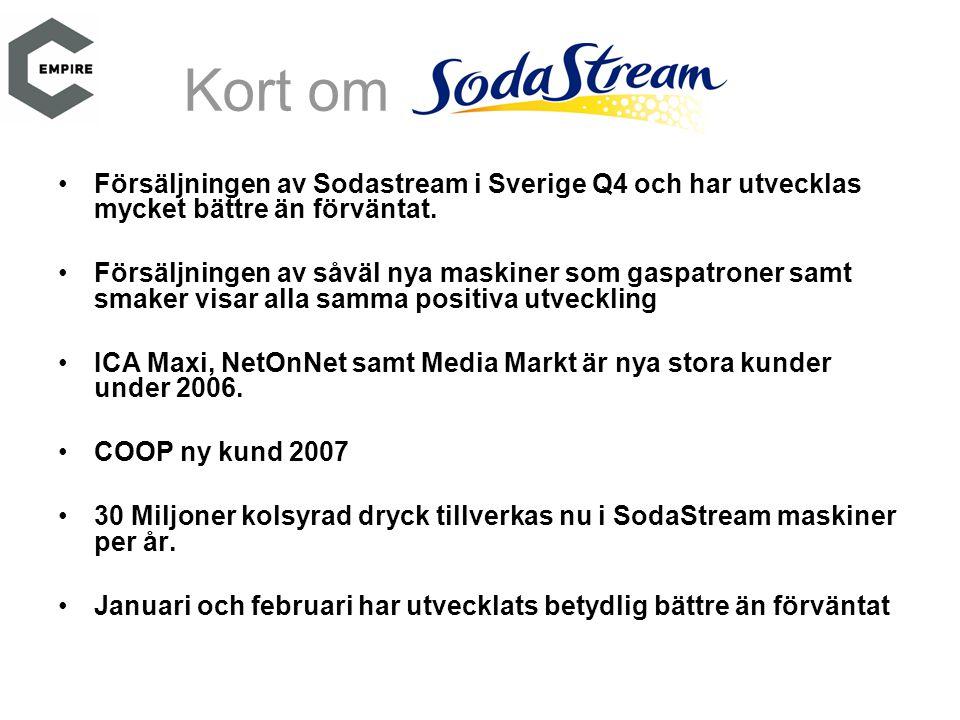 Kort om •Försäljningen av Sodastream i Sverige Q4 och har utvecklas mycket bättre än förväntat. •Försäljningen av såväl nya maskiner som gaspatroner s