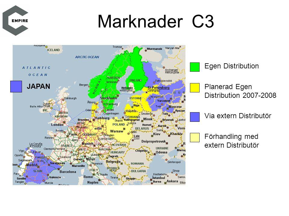 Marknader C3 Egen Distribution Planerad Egen Distribution 2007-2008 Via extern Distributör Förhandling med extern Distributör JAPAN