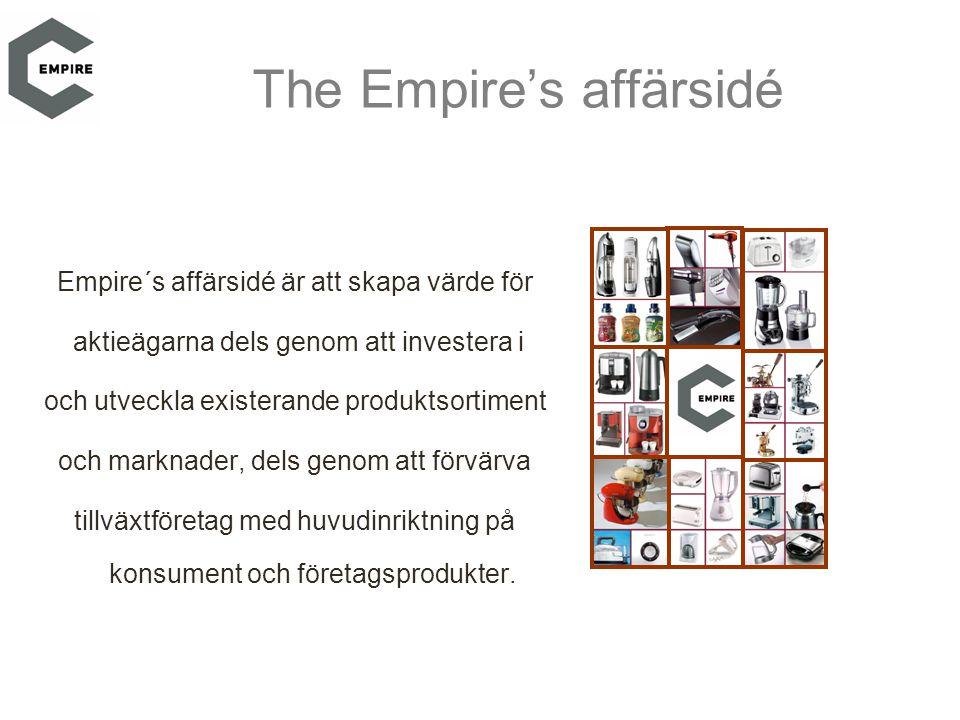 The Empire's affärsidé Empire´s affärsidé är att skapa värde för aktieägarna dels genom att investera i och utveckla existerande produktsortiment och