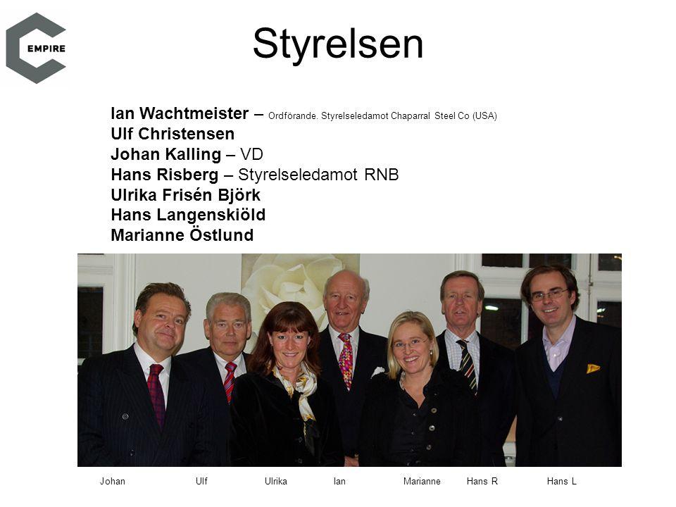 Ian Wachtmeister – Ordförande. Styrelseledamot Chaparral Steel Co (USA) Ulf Christensen Johan Kalling – VD Hans Risberg – Styrelseledamot RNB Ulrika F