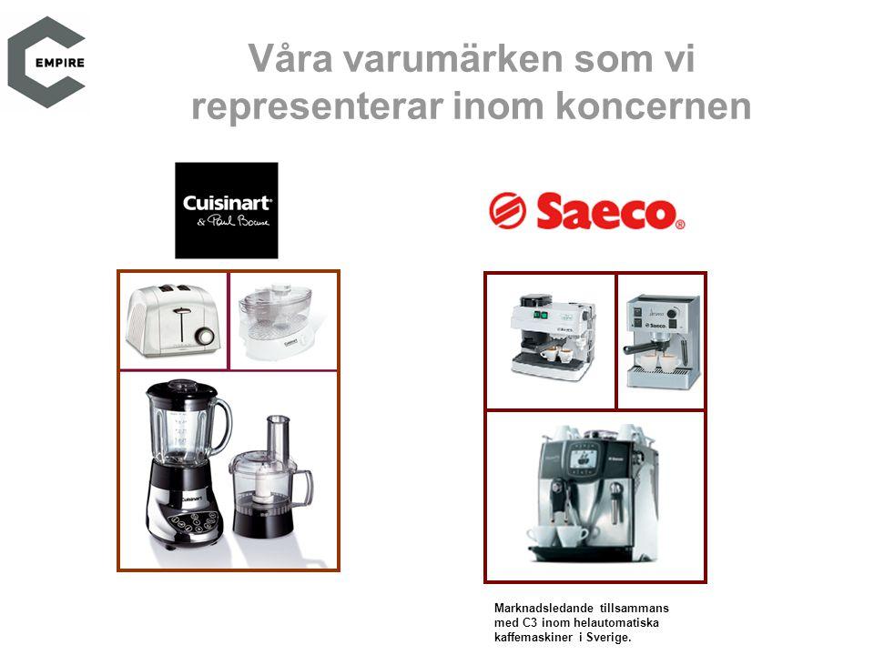 Marknadsledande tillsammans med C3 inom helautomatiska kaffemaskiner i Sverige.