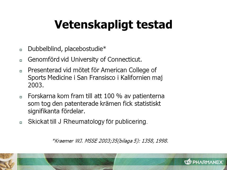 Vetenskapligt testad  Dubbelblind, placebostudie*  Genomförd vid University of Connecticut.  Presenterad vid mötet för American College of Sports M