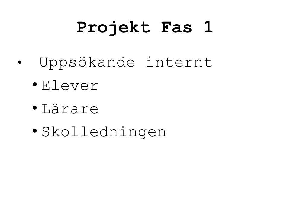 Projekt Fas 1 • Uppsökande internt • Elever • Lärare • Skolledningen