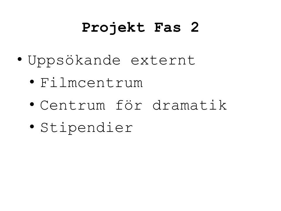 Projekt Fas 2 • Uppsökande externt • Filmcentrum • Centrum för dramatik • Stipendier