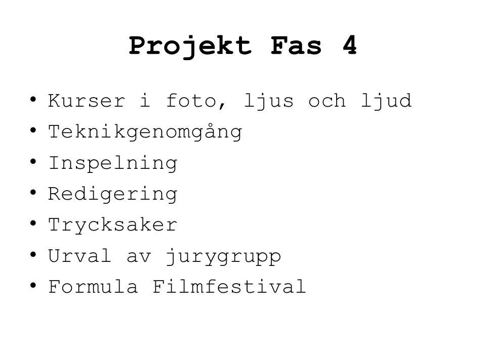 Projekt Fas 4 • Kurser i foto, ljus och ljud • Teknikgenomgång • Inspelning • Redigering • Trycksaker • Urval av jurygrupp • Formula Filmfestival