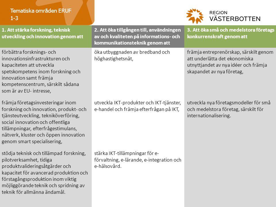 Tematiska områden ERUF 1-3 1.Att stärka forskning, teknisk utveckling och innovation genom att 2.