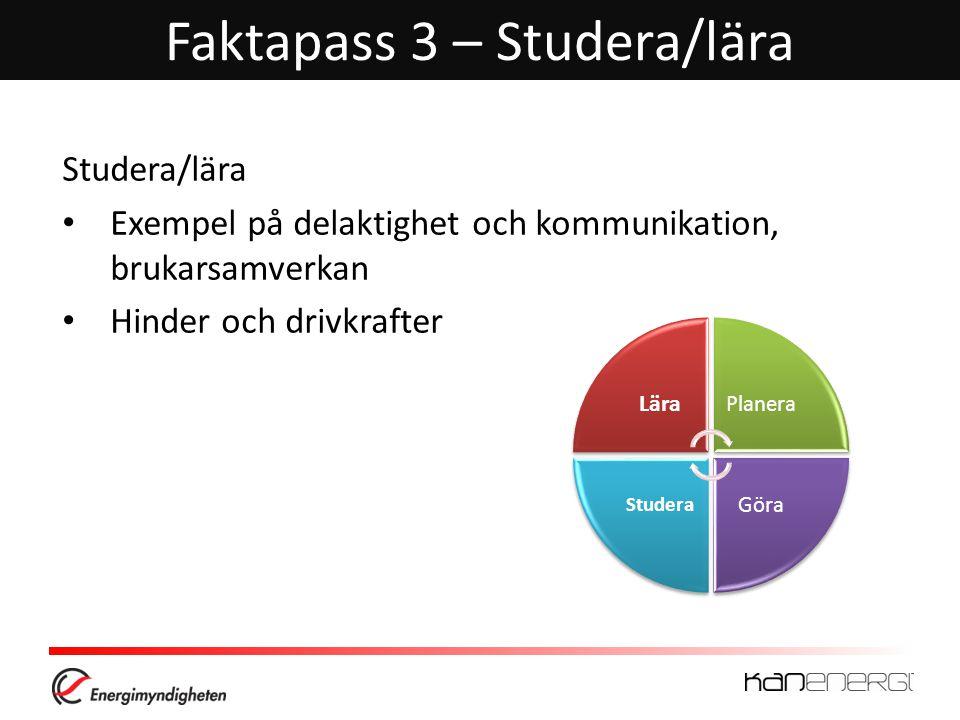 Faktapass 3 – Studera/lära Studera/lära • Exempel på delaktighet och kommunikation, brukarsamverkan • Hinder och drivkrafter Lära Planera Göra Studera
