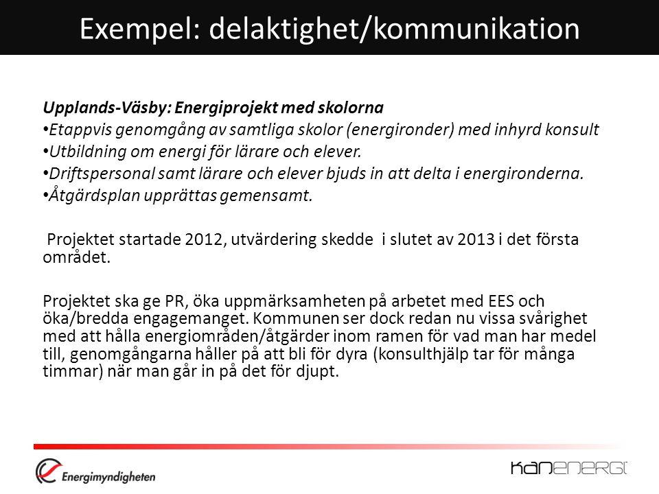 Exempel: delaktighet/kommunikation Upplands-Väsby: Energiprojekt med skolorna • Etappvis genomgång av samtliga skolor (energironder) med inhyrd konsul