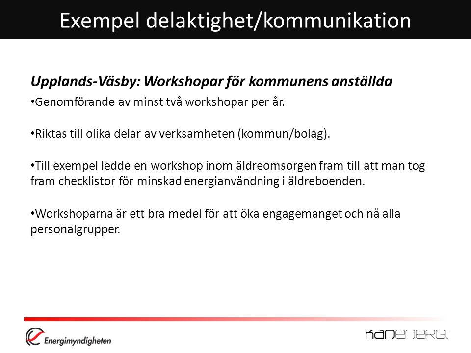 Exempel delaktighet/kommunikation Upplands-Väsby: Workshopar för kommunens anställda • Genomförande av minst två workshopar per år. • Riktas till olik