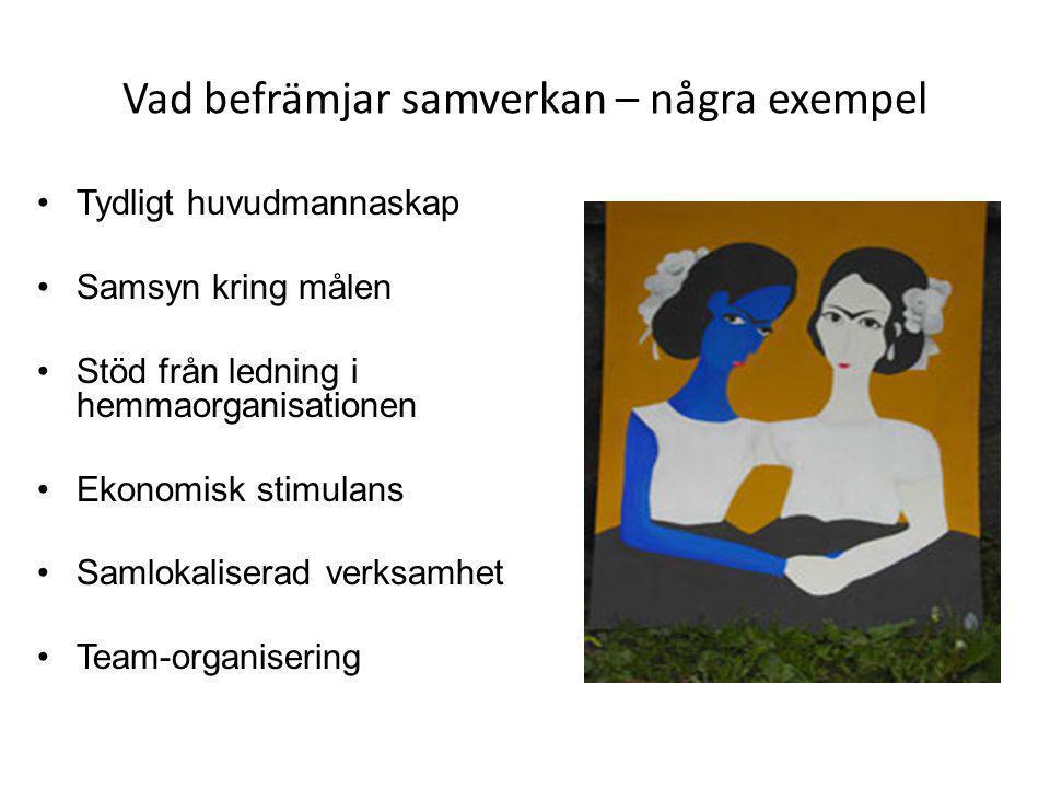 Vad befrämjar samverkan – några exempel •Tydligt huvudmannaskap •Samsyn kring målen •Stöd från ledning i hemmaorganisationen •Ekonomisk stimulans •Sam