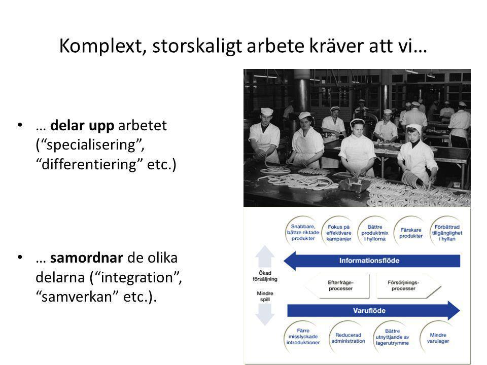 """Komplext, storskaligt arbete kräver att vi… • … delar upp arbetet (""""specialisering"""", """"differentiering"""" etc.) • … samordnar de olika delarna (""""integrat"""