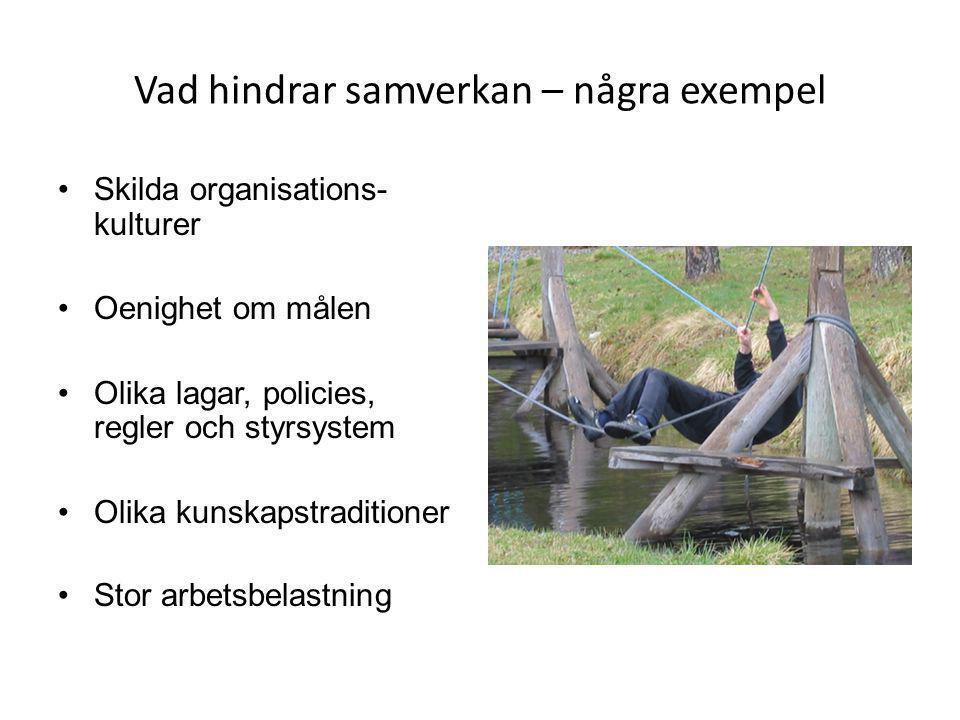 Vad hindrar samverkan – några exempel •Skilda organisations- kulturer •Oenighet om målen •Olika lagar, policies, regler och styrsystem •Olika kunskaps