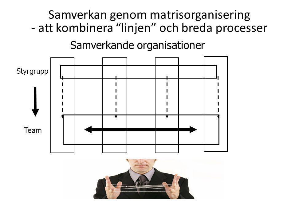 """Samverkan genom matrisorganisering - att kombinera """"linjen"""" och breda processer Samverkande organisationer Styrgrupp Team"""