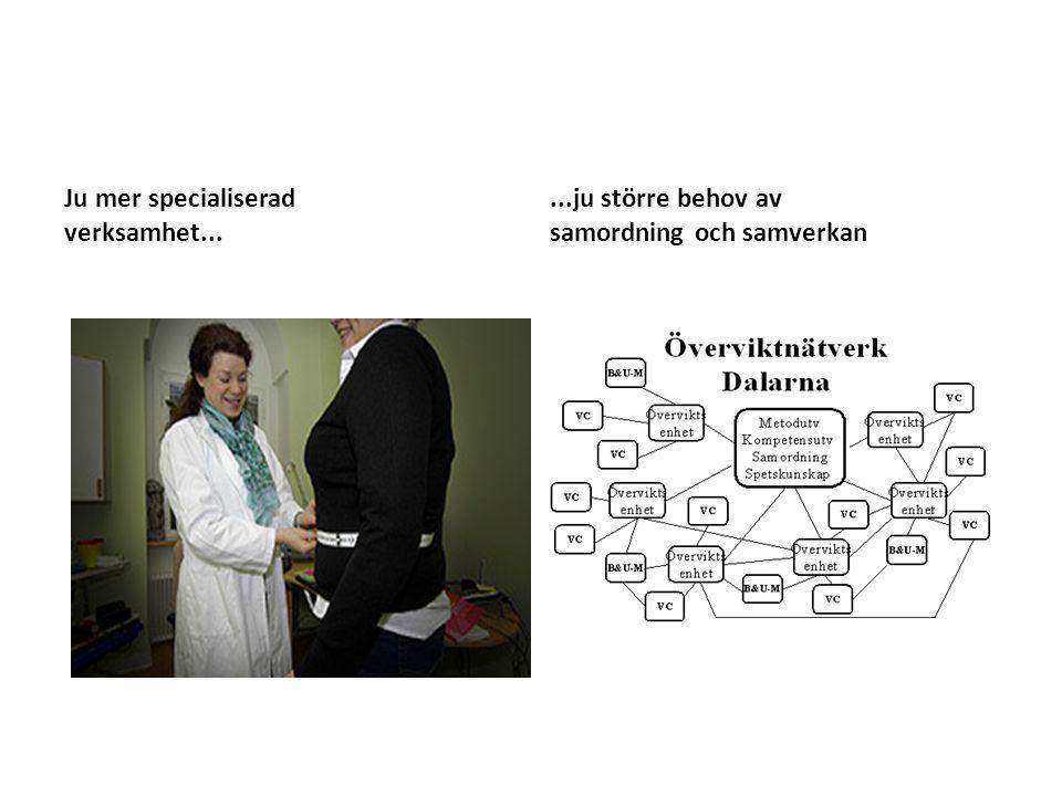 Ju mer specialiserad verksamhet......ju större behov av samordning och samverkan