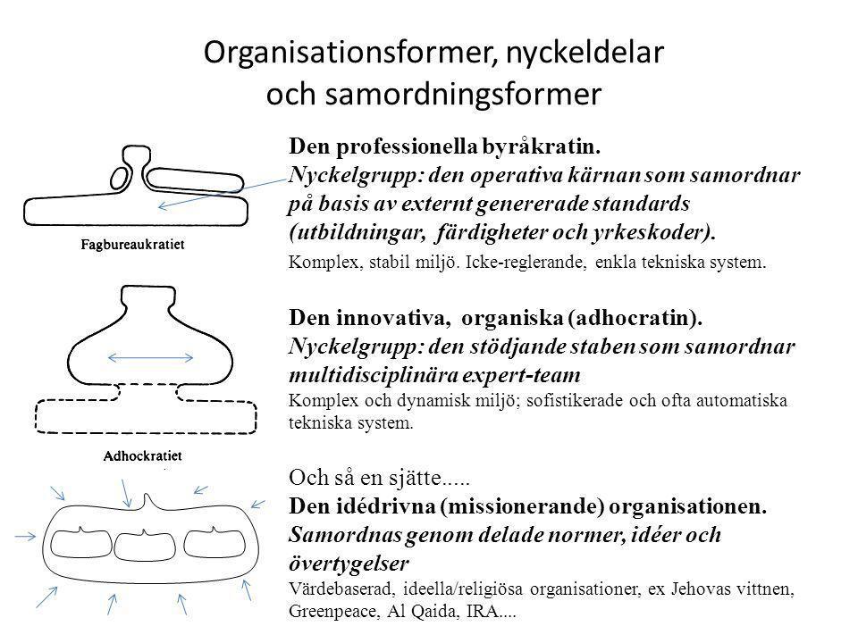Organisationsformer, nyckeldelar och samordningsformer Den professionella byråkratin. Nyckelgrupp: den operativa kärnan som samordnar på basis av exte