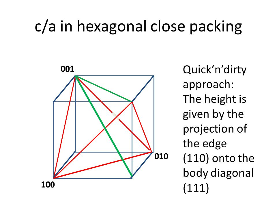 c/a in hexagonal close packing Quick'n'dirty approach: The height is given by the projection of the edge (110) onto the body diagonal (111) 001 100 01