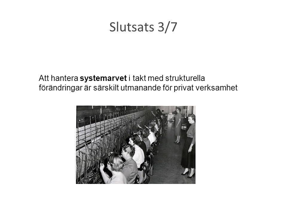Slutsats 3/7 Att hantera systemarvet i takt med strukturella förändringar är särskilt utmanande för privat verksamhet