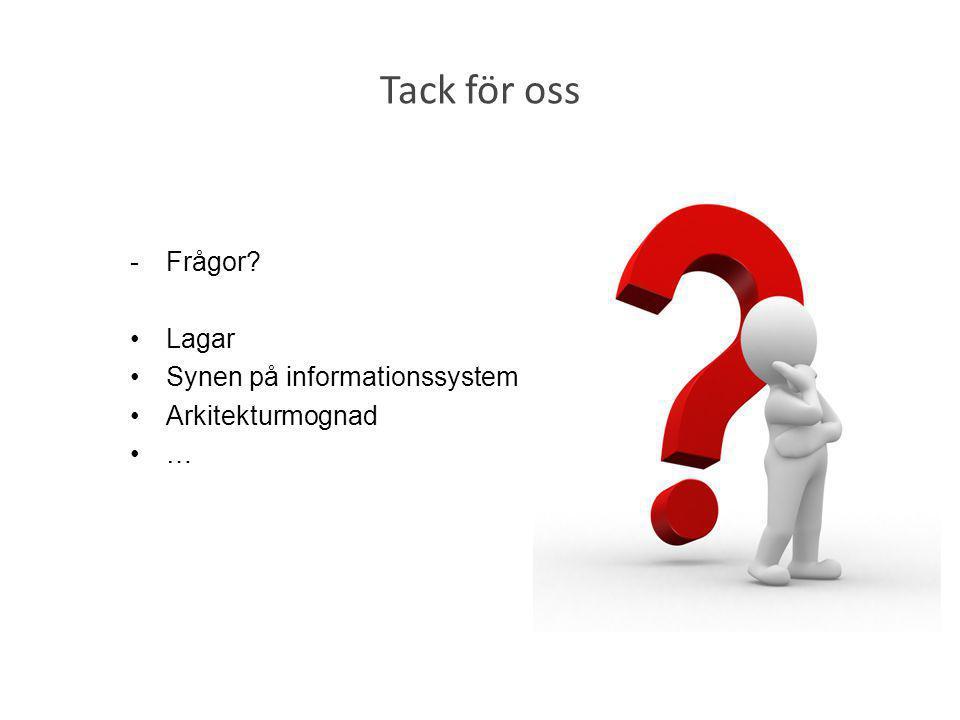 Tack för oss -Frågor? •Lagar •Synen på informationssystem •Arkitekturmognad •…