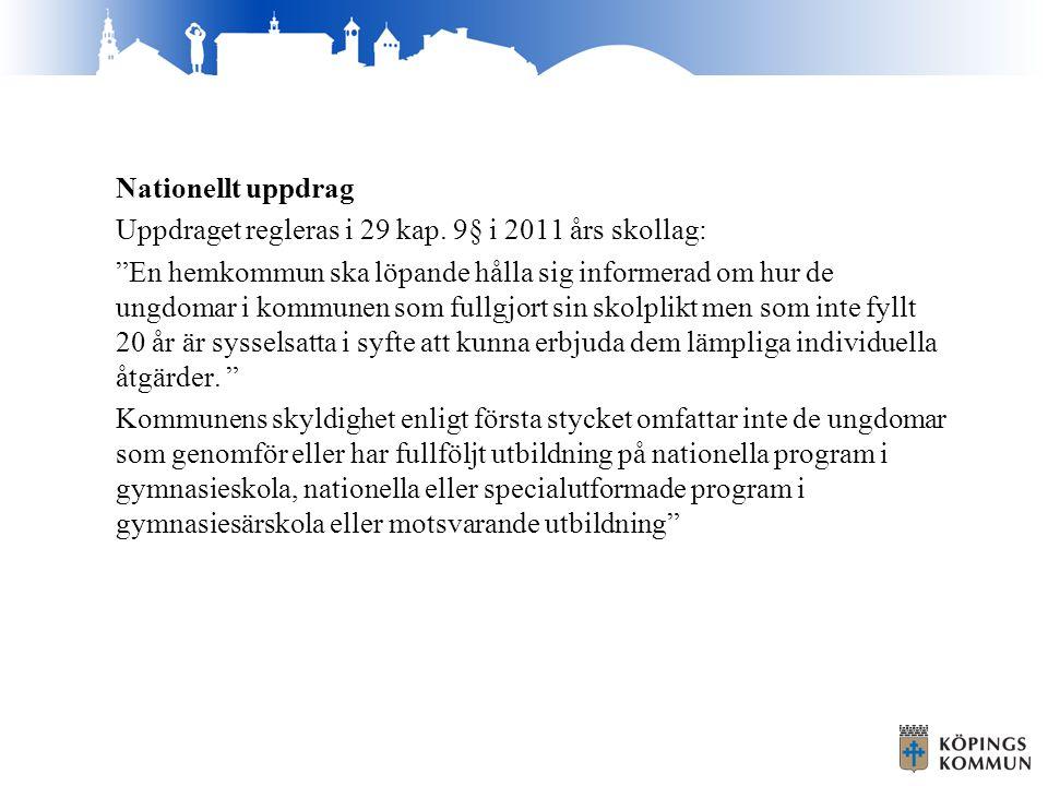 """Nationellt uppdrag Uppdraget regleras i 29 kap. 9§ i 2011 års skollag: """"En hemkommun ska löpande hålla sig informerad om hur de ungdomar i kommunen so"""