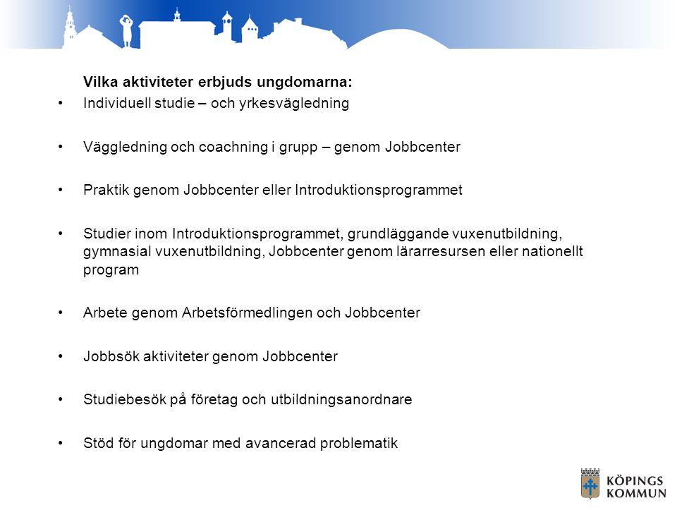 Samarbete med andra enheter/myndigheter - Jobbcenter Hela Jobbcenters verksamhet - Ullviskolan/IM programmet Nära samarbete med personalen på IM samt kontakt med studievägledarna på hela Ullviskolan.