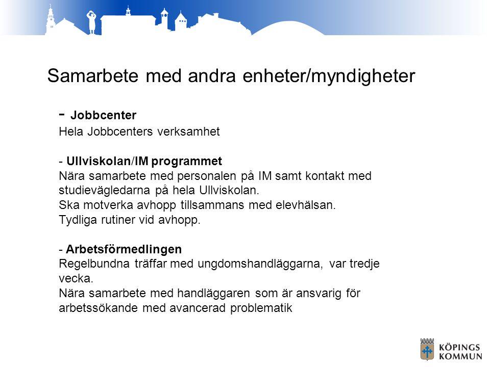 Samarbete med andra enheter/myndigheter - Jobbcenter Hela Jobbcenters verksamhet - Ullviskolan/IM programmet Nära samarbete med personalen på IM samt