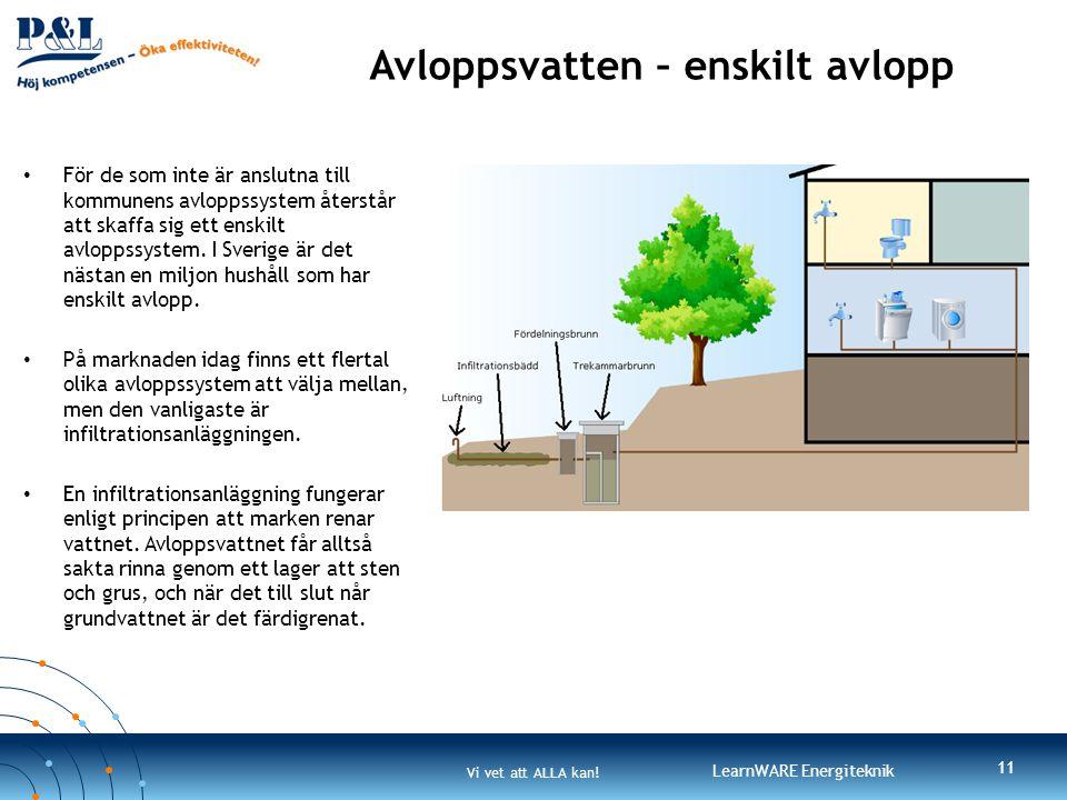 Vi vet att ALLA kan! LearnWARE Energiteknik Avloppsvatten – enskilt avlopp • För de som inte är anslutna till kommunens avloppssystem återstår att ska