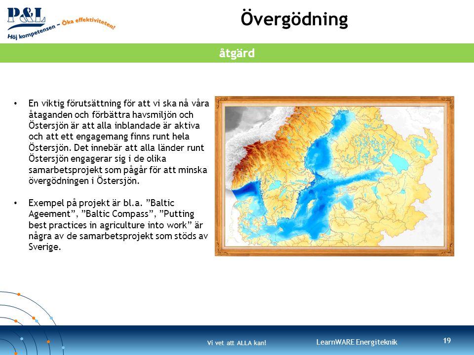 Vi vet att ALLA kan! LearnWARE Energiteknik Övergödning 19 • En viktig förutsättning för att vi ska nå våra åtaganden och förbättra havsmiljön och Öst