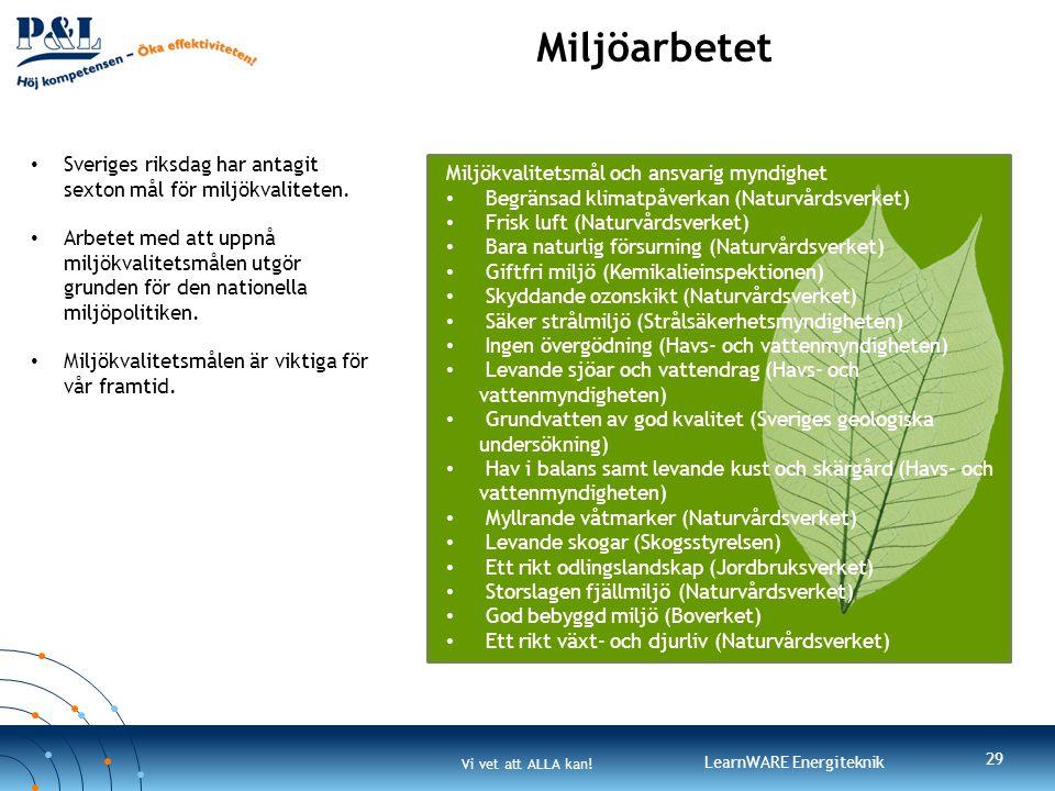 Vi vet att ALLA kan! LearnWARE Energiteknik Miljöarbetet 29 • Sveriges riksdag har antagit sexton mål för miljökvaliteten. • Arbetet med att uppnå mil