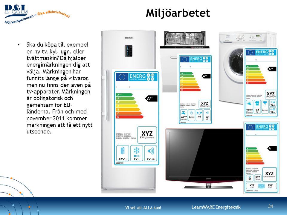 Vi vet att ALLA kan! LearnWARE Energiteknik Miljöarbetet 34 • Ska du köpa till exempel en ny tv, kyl, ugn, eller tvättmaskin? Då hjälper energimärknin
