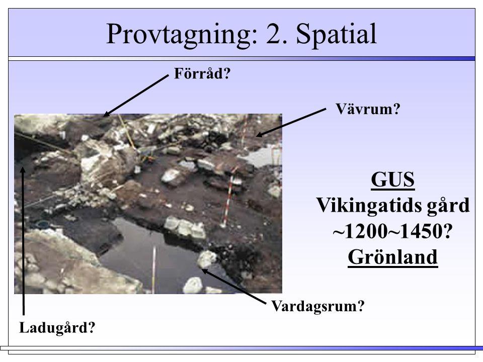 Provtagning: 2. Spatial Vävrum? Förråd? Ladugård? Vardagsrum? GUS Vikingatids gård ~1200~1450? Grönland