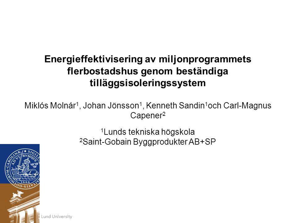 Energieffektivisering av miljonprogrammets flerbostadshus genom beständiga tilläggsisoleringssystem Miklós Molnár 1, Johan Jönsson 1, Kenneth Sandin 1
