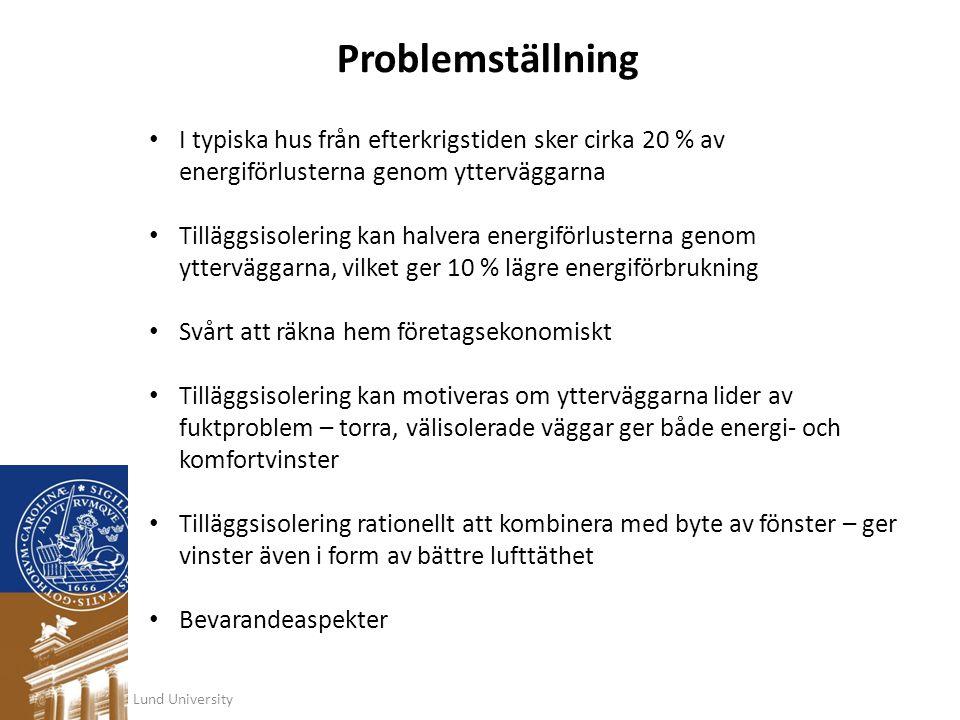 Problemställning • I typiska hus från efterkrigstiden sker cirka 20 % av energiförlusterna genom ytterväggarna • Tilläggsisolering kan halvera energif