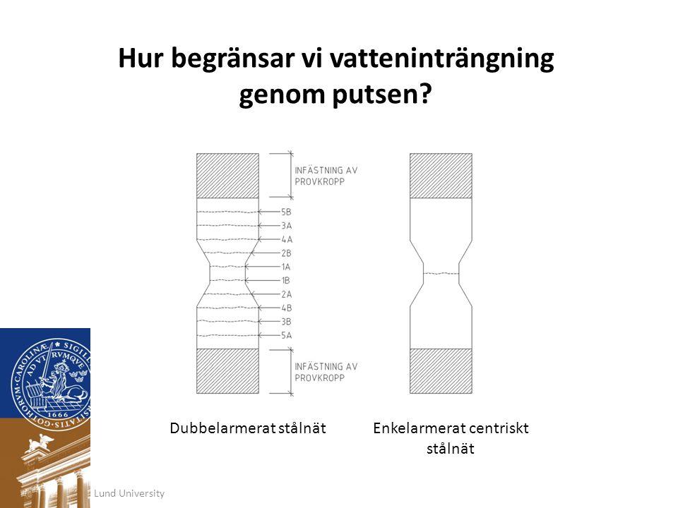 Lund University Hur begränsar vi vatteninträngning genom putsen? Dubbelarmerat stålnätEnkelarmerat centriskt stålnät