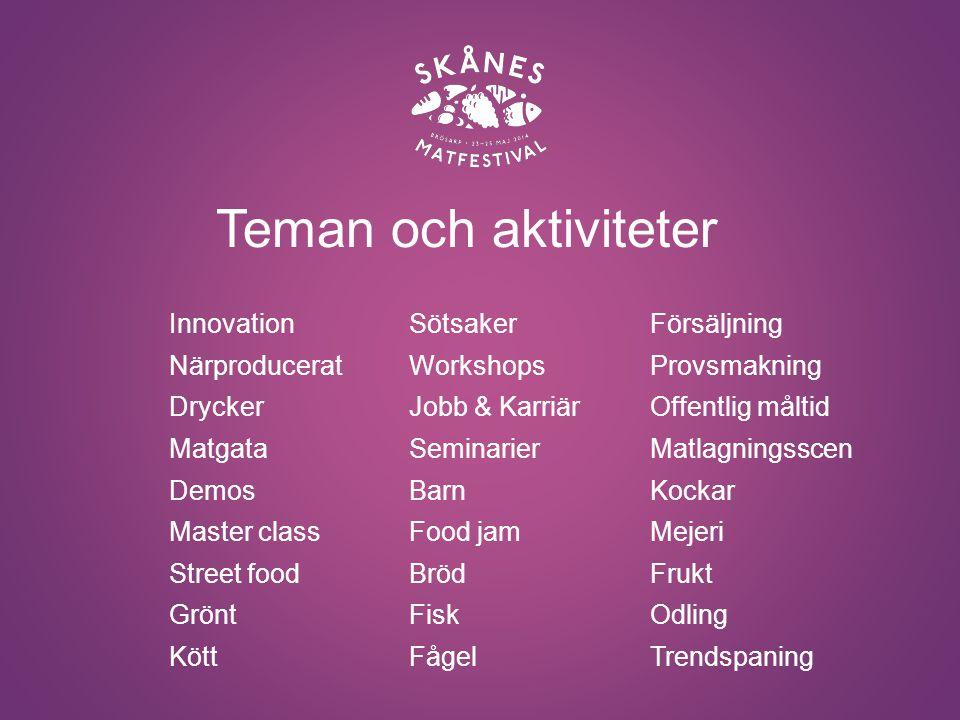 blir Skånes Matfestival årets mest spännande och smakrika festival Innovation Interaktivitet Mångfald Kunskapshöjande aktiviteter Genom
