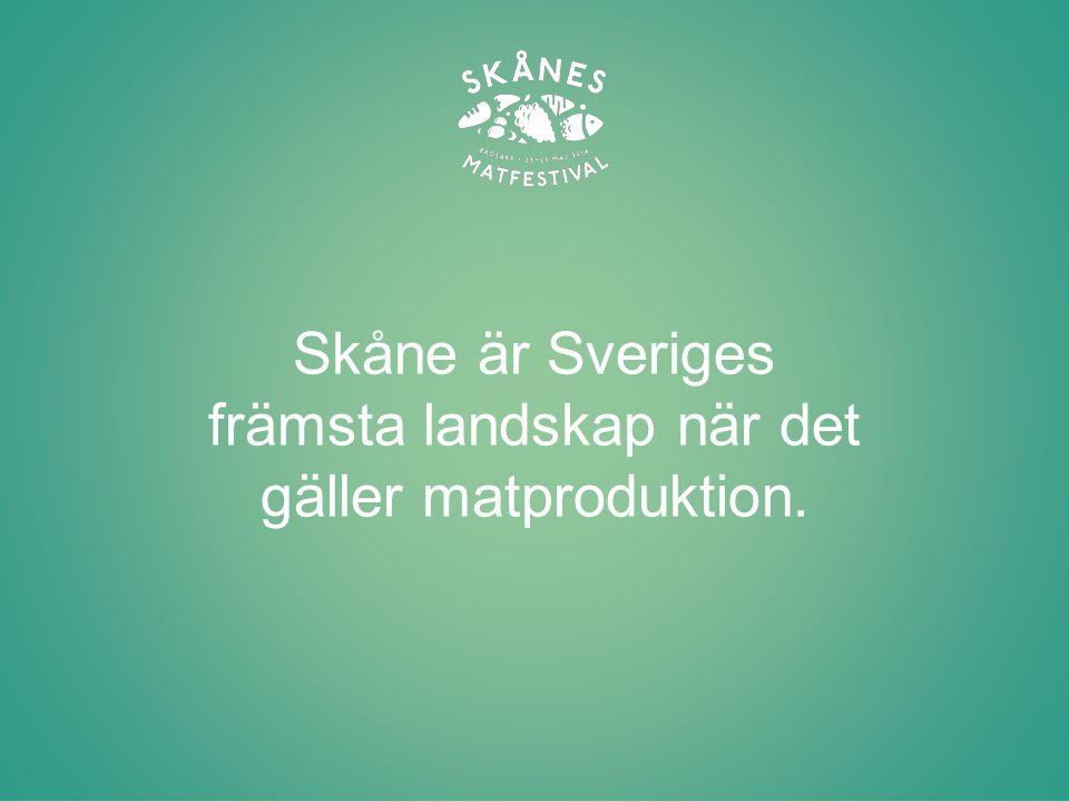 Skåne har 800 småskaliga producenter och mathantverkare Skånes Matfestival förenar små och stora matproducenter som tillsammans vill lyfta hantverket och industrin Genomförandet sker med samarbeten, sponsring och bidrag och finansieringen sker delvis via Landsbygdsprogrammet Huvudfokus är Skåne, den regionala avgränsningen är Norden